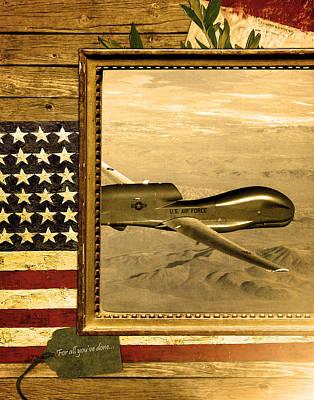 Rq-4 Global Hawk Rustic Flag Poster by Reggie Saunders