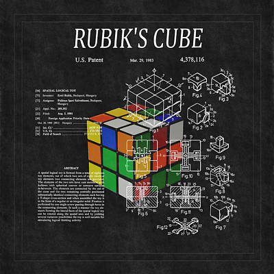 Rubik's Cube Patent 3 Poster by Andrew Fare