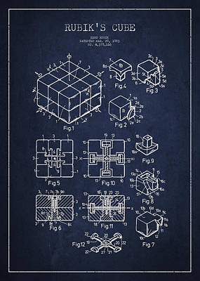 Rubiks Cube Patent Poster by Aged Pixel