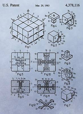 Rubik's Cube Patent Poster by Dan Sproul