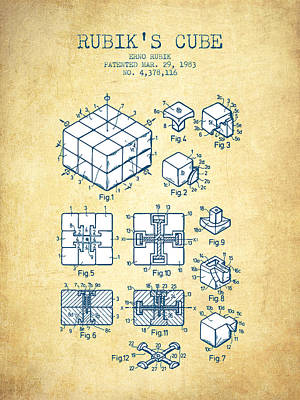 Rubiks Cube Patent From 1983 - Vintage Paper Poster by Aged Pixel