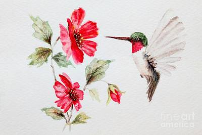 Ruby Red Hummingbird Poster by Pattie Calfy