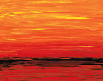 Ruby Shore - Red And Orange Abstract Poster by Sharon Cummings