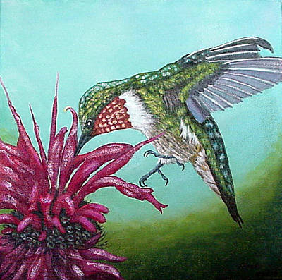 Poster featuring the painting Ruby-throated Hummingbird by Fran Brooks