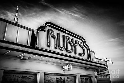 Ruby's Diner Newport Beach Black And White Picture Poster by Paul Velgos