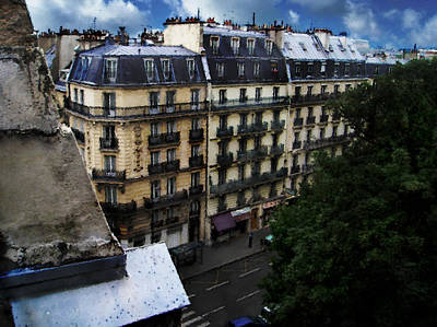 Poster featuring the digital art Rue Des Ecoles In Paris France From The 6th Floor Balcony Of The Henri Iv Hotel by David Blank