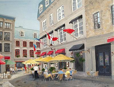 Poster featuring the painting Rue Saint Amable Restaurant by Marilyn Zalatan