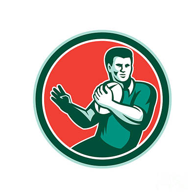Rugby Player Ball Hand Out Circle Retro Poster