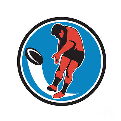 Rugby Player Kicking Ball Circle Retro Poster