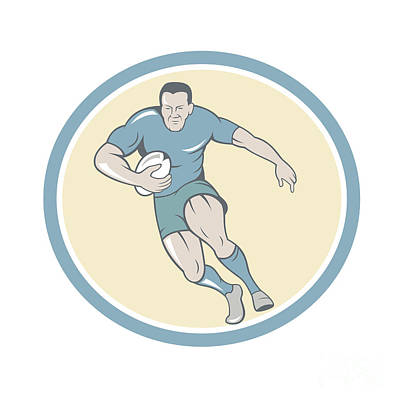 Rugby Player Running Ball Circle Cartoon Poster