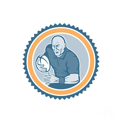 Rugby Player Running Ball Rosette Cartoon Poster