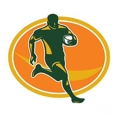 Rugby Player Running Ball Silhouette Poster