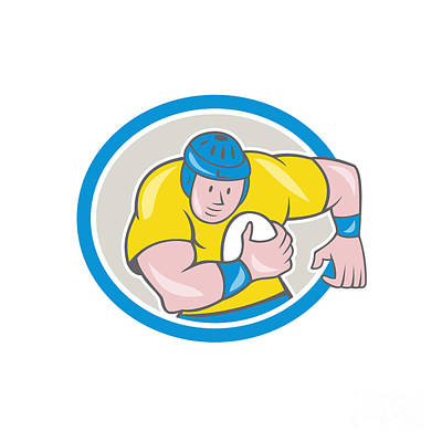 Rugby Player Running Charging Circle Cartoon Poster