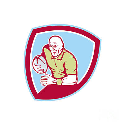 Rugby Player Running Charging Shield Cartoon Poster