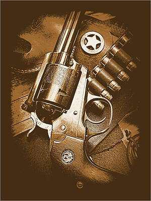 Ruger Super Blackhawk In Sepia 1 Poster by Sheri McLeroy