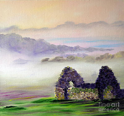 Ruin Above The Mist Poster by Lynda Cookson