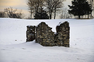 Ruin At Philadelphia Cricket Club In Winter Poster