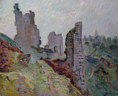 Ruins In The Fog At Crozant Poster by Jean Baptiste Armand Guillaumin