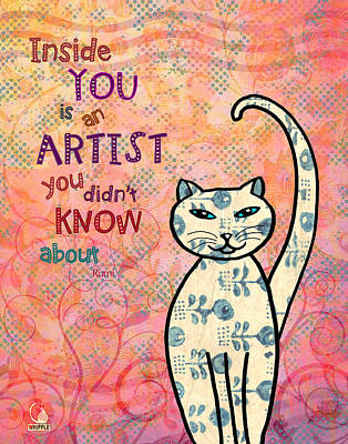 Rumi Cat Artist Poster by Cat Whipple
