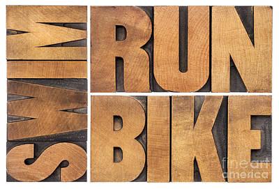 Poster featuring the photograph Run Bike Swim - Triathlon Concept by Marek Uliasz