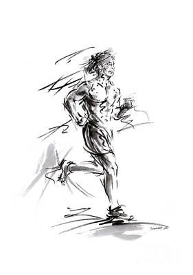 Run Lovers Running Man Painting Sport Athletic Olimpic Poster by Mariusz Szmerdt