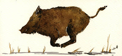 Running Boar Poster by Juan  Bosco