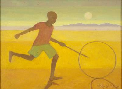 Running Boy,2010 Oil On Canvas Poster