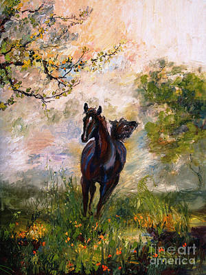 Running Free Horse Painting Poster