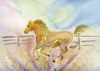 Poster featuring the painting Running Horse by Linda Feinberg