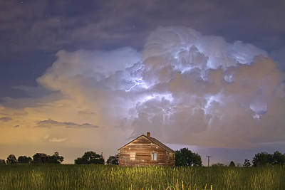 Rural Country Cabin Lightning Storm Poster by James BO  Insogna