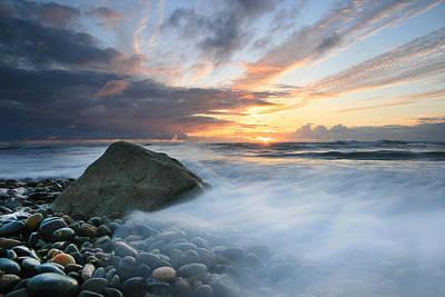 Rushing Water Sunset Poster by Scott Cunningham