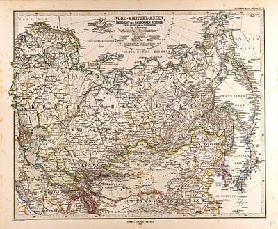 Russia Map  Gotha Justus Perthes 1874 Atlas Poster by English School