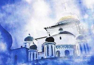 Russian Church In A Blue Cloud Poster by Sarah Loft