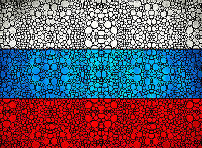 Russian Flag - Russia Stone Rock'd Art By Sharon Cummings Poster by Sharon Cummings
