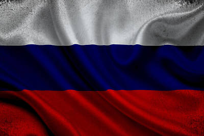 Russian Flag Waving On Canvas Poster
