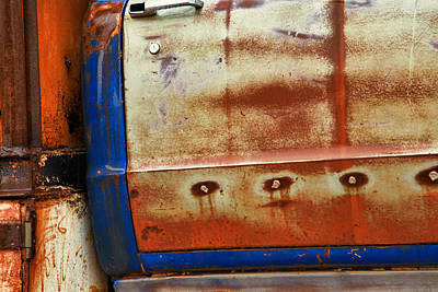 Rust And Blue Poster by Toni Hopper