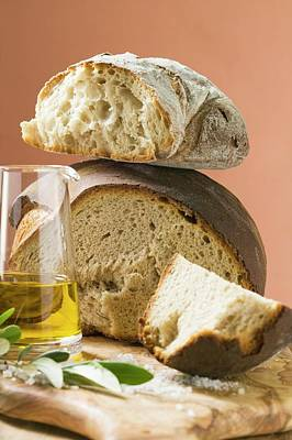 Rustic Bread, Two Loaves With Pieces Cut Off, Olive Oil, Salt Poster