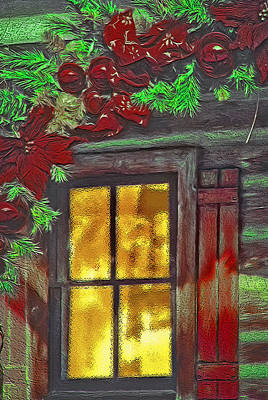 Rustic Christmas Window Poster by Steve Ohlsen