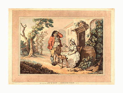 Rustic Courtship, 1785, Hand-colored Etching And Aquatint Poster by Rowlandson, Thomas (1756-1827), English