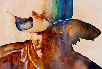 Poster featuring the painting Rustic Cowboy by Jani Freimann