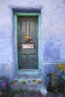 Rustic Door In Tucson Barrio Painterly Effect Poster