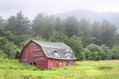 Rustic Landscape - Red Barn - Old Barn And Mountains Poster by Gary Heller