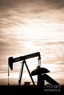 Rustic Oil Well Pump Vertical Sepia Poster by James BO  Insogna