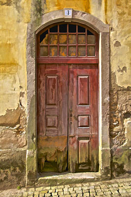 Rustic Red Wood Door Of The Medieval Village Of Pombal Poster by David Letts