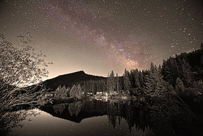Rustic Rocky Mountain Cabin Milky Way Sepia View Poster