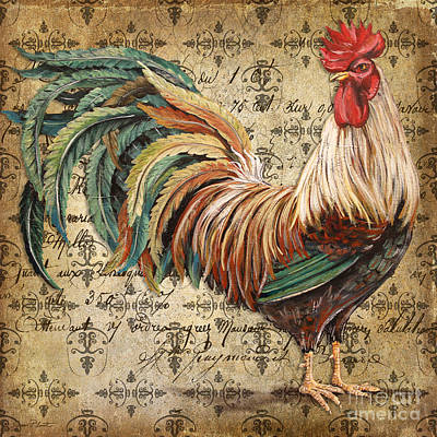 Rustic Rooster-jp2120 Poster by Jean Plout