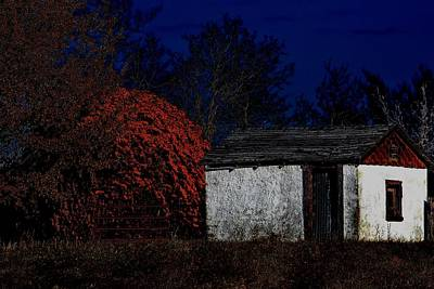 Rustic Shack By The Full Moon Poster