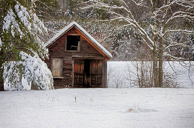 Rustic Shack In Snow Poster