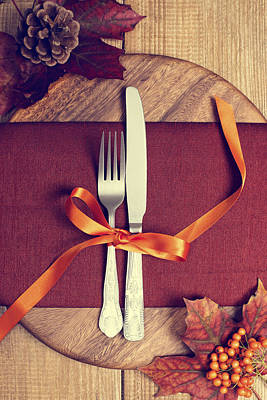 Rustic Table Setting For Autumn Poster