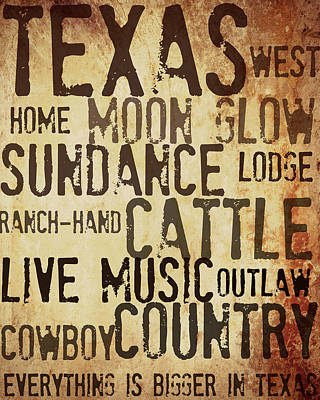 Rustic Texas Art Poster by Chastity Hoff